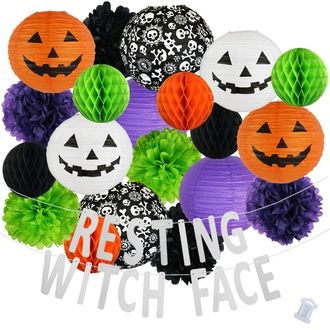 37pcs Frightful Resting Witch Face Paper Lantern Hanging Kit