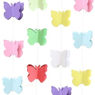 3D Paper Butterfly Garland Multi-Color 8ft