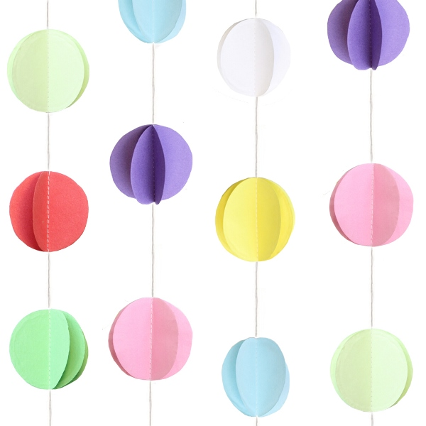 3D Paper Circle Garland Multi-Color 8ft
