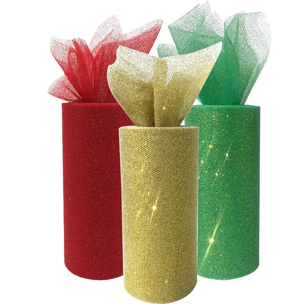 3pc Glitter Tulle Fabric Roll 25-Yards Length x 6-Inch Width (Color: Christmas) - Premier