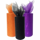 3pc Glitter Tulle Fabric Roll 25-Yards Length x 6-Inch Width (Color: Halloween) - Premier