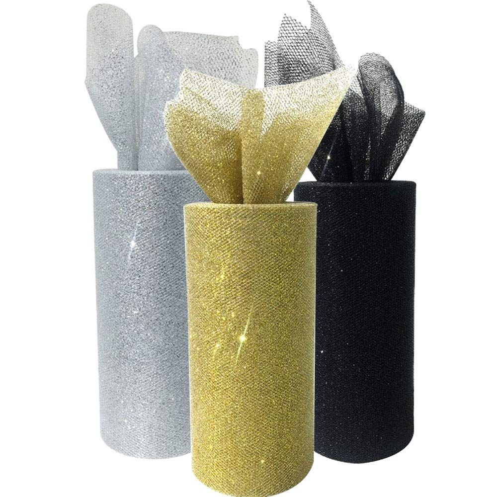 3pc Glitter Tulle Fabric Roll 25-Yards Length x 6-Inch Width (Color: New Years) - Premier