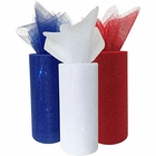 3pc Glitter Tulle Fabric Roll 25-Yards Length x 6-Inch Width (Color: Patriotic) - Premier