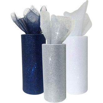 3pc Glitter Tulle Fabric Roll 25-Yards Length x 6-Inch Width (Color: Winter) - Premier