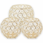 3pc Gold Assorted Round Crystal Votive Tea Light Candle Holder Set (Medium, Large) - Premier