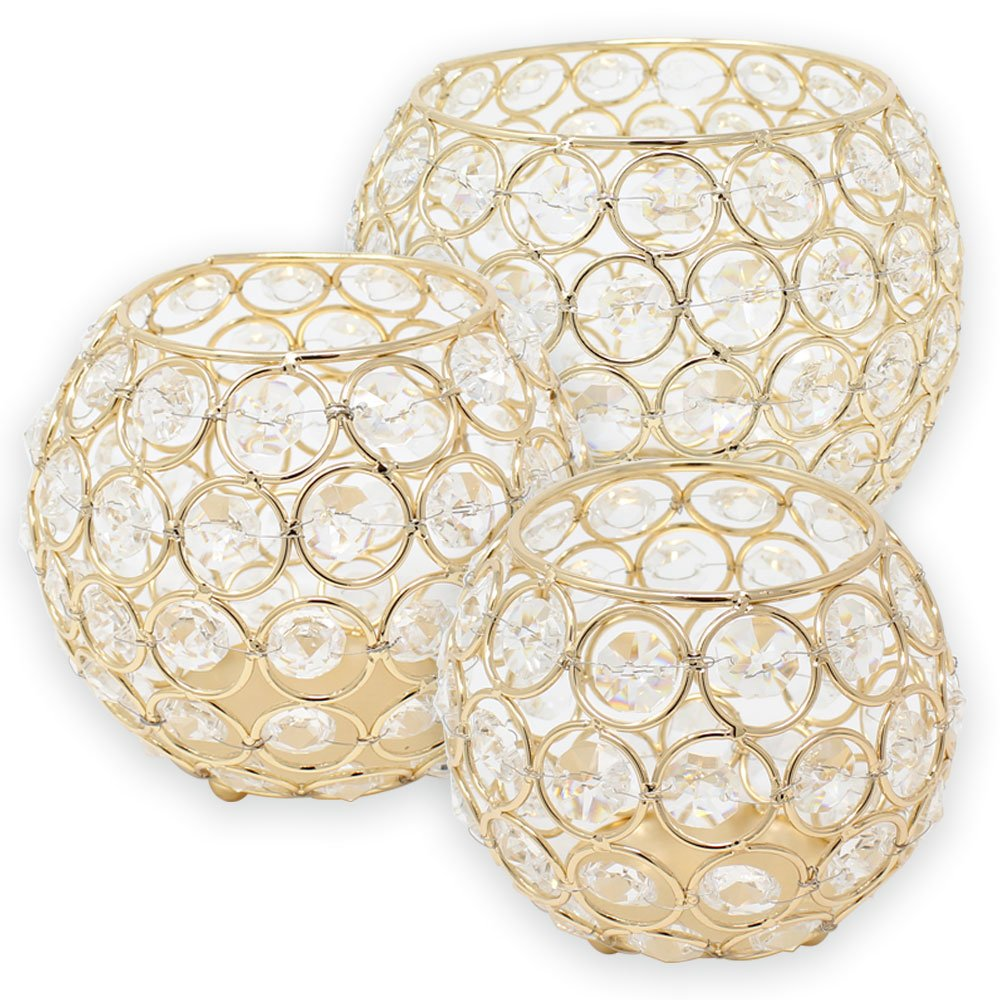 3pc Gold Assorted Round Crystal Votive Tea Light Candle Holder Set (Small, Medium, Large) - Premier