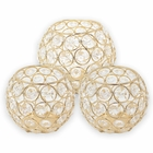 3pc Gold Assorted Round Crystal Votive Tea Light Candle Holder Set (Small, Medium) - Premier