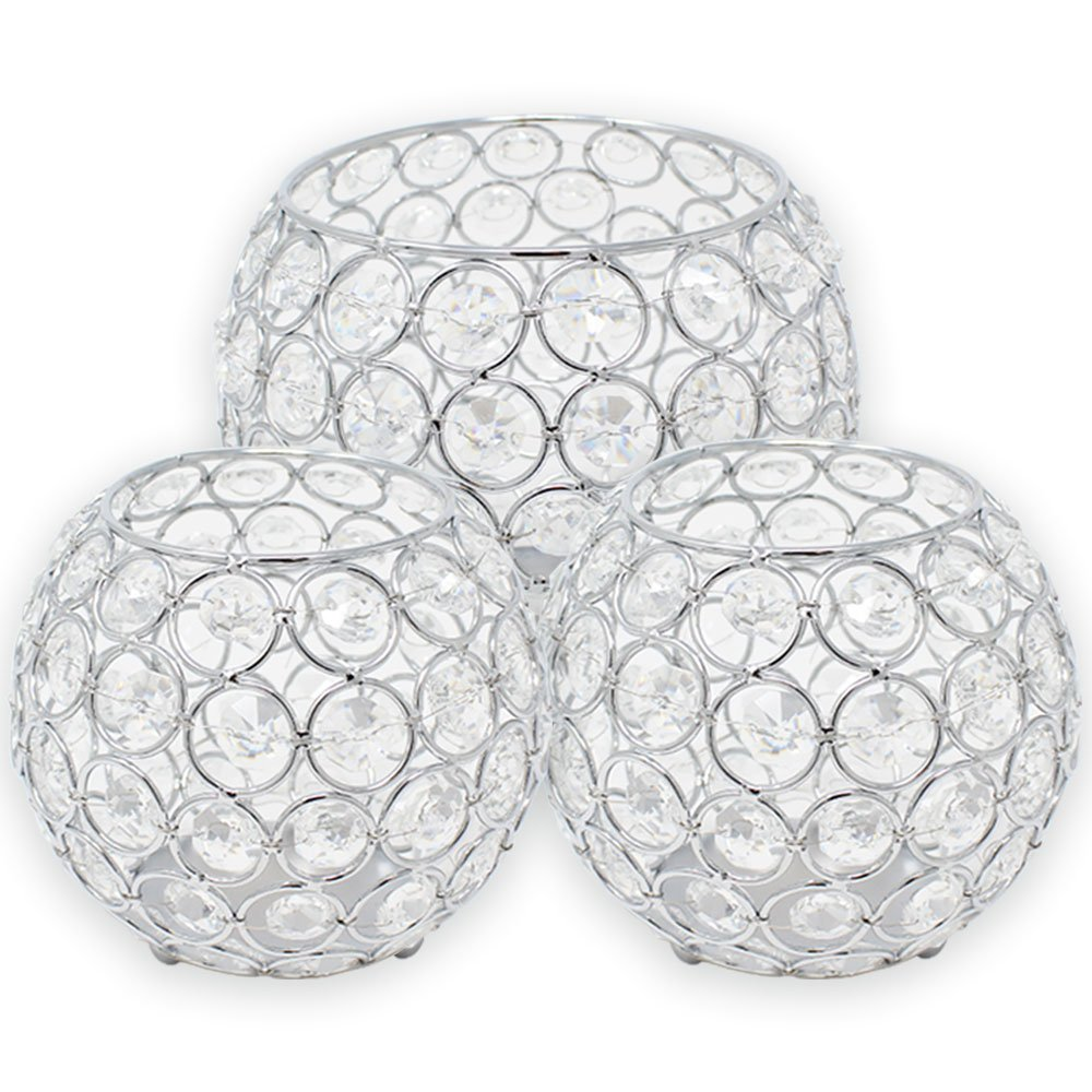 3pc Silver Assorted Round Crystal Votive Tea Light Candle Holder Set (Medium, Large) - Premier