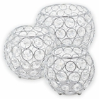 3pc Silver Assorted Round Crystal Votive Tea Light Candle Holder Set (Small, Medium, Large) - Premier