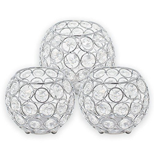 3pc Silver Assorted Round Crystal Votive Tea Light Candle Holder Set (Small, Medium) - Premier