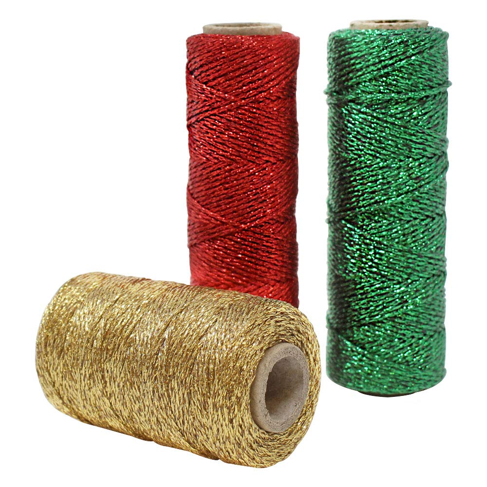 3pcs Christmas Assorted Eco Metallic Bakers Twine 55yd 11Ply (Assorted #6) - Premier