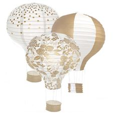 3pcs Gold Hot Air Balloon Paper Lantern Set 12in