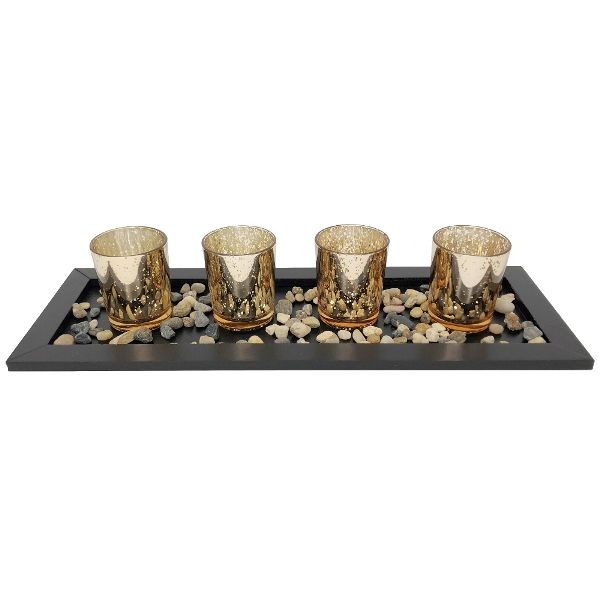 4 Candle Holder Set with Black Tray and Pebbles Mercury Glass Speckled Gold