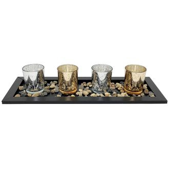 4 Candle Holder Set with Black Tray and Pebbles Mercury Glass Speckled Gold Silver