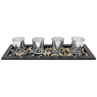 4 Candle Holder Set with Black Tray and Pebbles Mercury Glass Speckled Silver