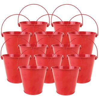 "4""H Metal Crayon/Pencil Holder Favor Bucket Pails (12pcs, Cherry Red) - Premier"