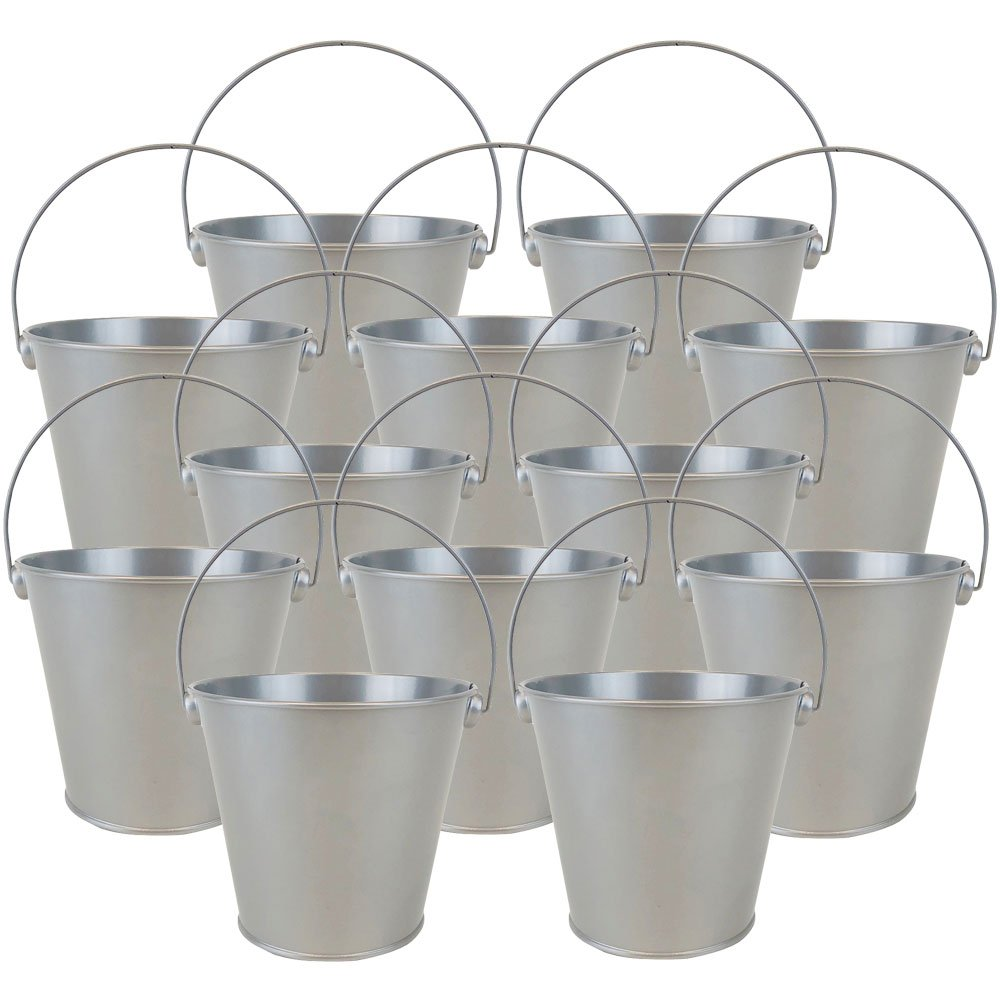 "4""H Metal Crayon/Pencil Holder Favor Bucket Pails (12pcs, Grey) - Premier"