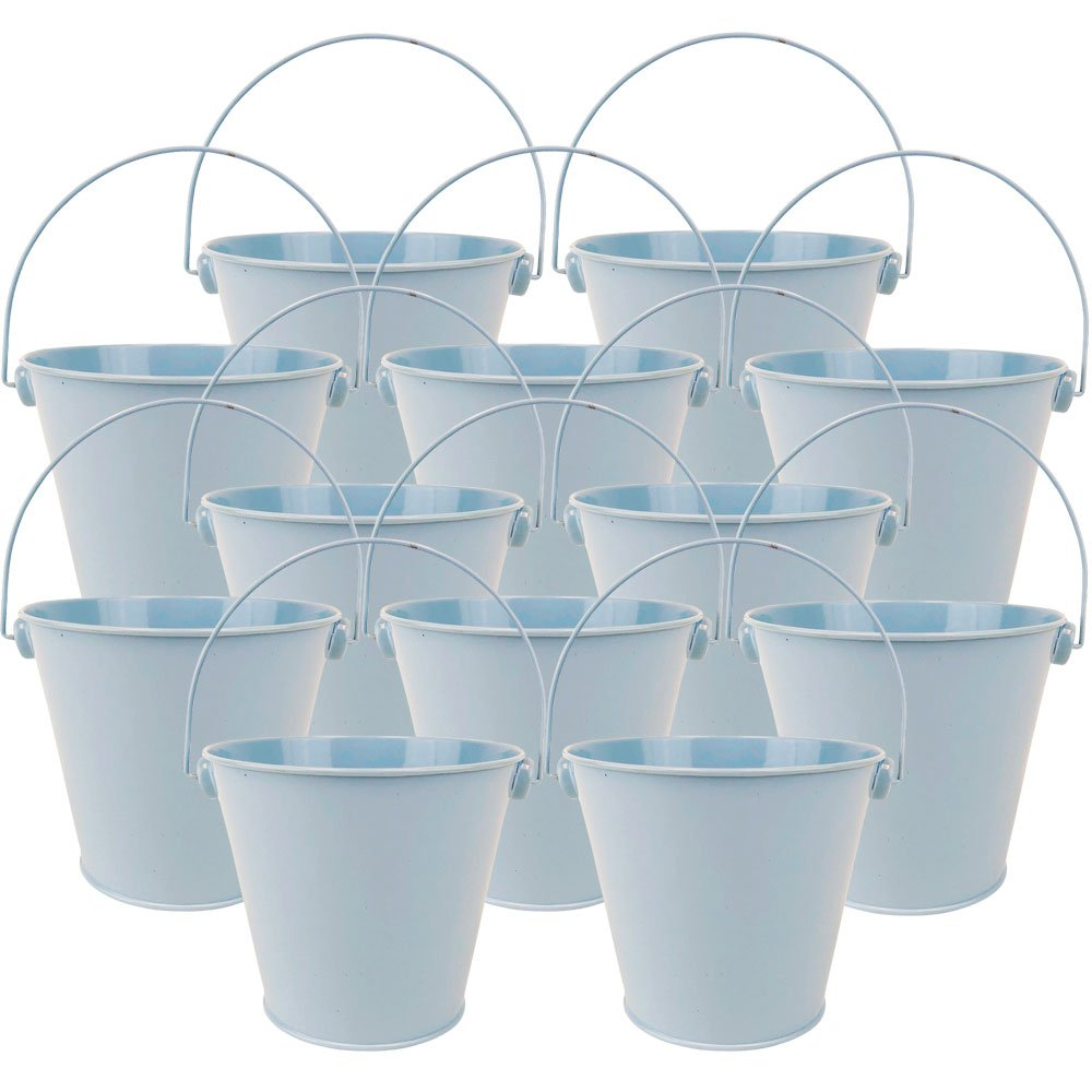 "4""H Metal Crayon/Pencil Holder Favor Bucket Pails (12pcs, Light Blue) - Premier"