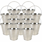 "4""H Metal Crayon/Pencil Holder Favor Bucket Pails (12pcs, Silver) - Premier"