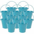 "4""H Metal Crayon/Pencil Holder Favor Bucket Pails (12pcs, Teal) - Premier"