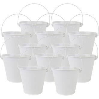 "4""H Metal Crayon/Pencil Holder Favor Bucket Pails (12pcs, White) - Premier"