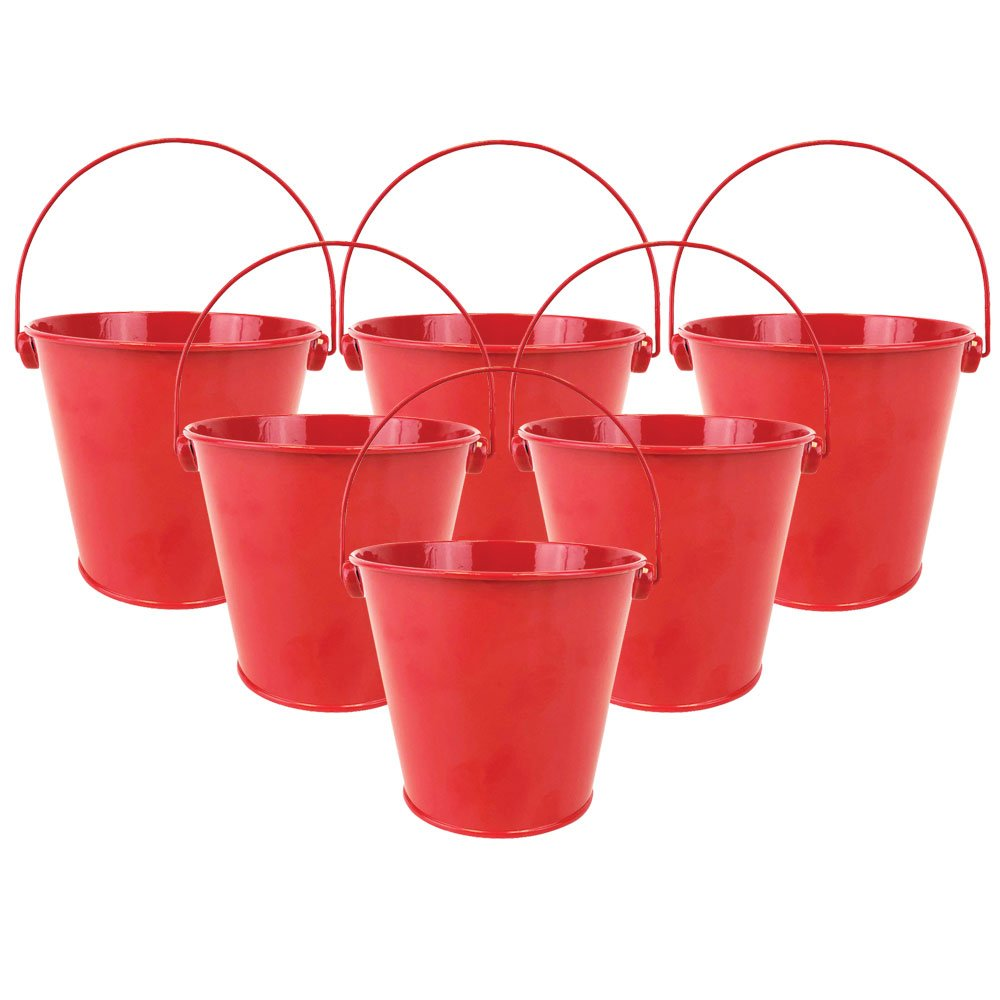 "4""H Metal Crayon/Pencil Holder Favor Bucket Pails (6pcs, Cherry Red) - Premier"