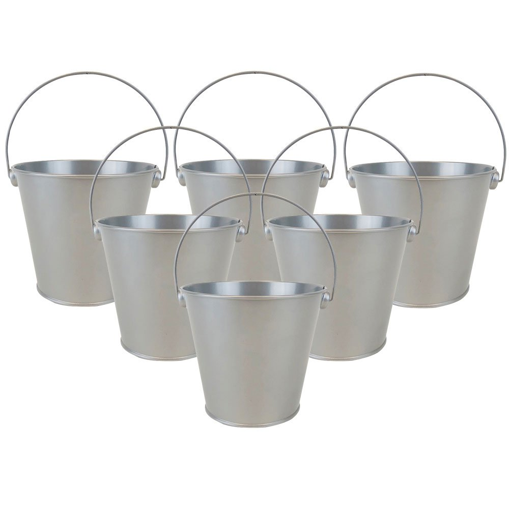 "4""H Metal Crayon/Pencil Holder Favor Bucket Pails (6pcs, Grey) - Premier"