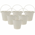 "4""H Metal Crayon/Pencil Holder Favor Bucket Pails (6pcs, Ivory) - Premier"