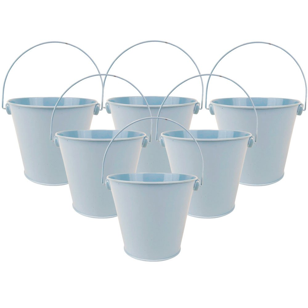 "4""H Metal Crayon/Pencil Holder Favor Bucket Pails (6pcs, Light Blue) - Premier"