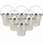 "4""H Metal Crayon/Pencil Holder Favor Bucket Pails (6pcs, Silver) - Premier"