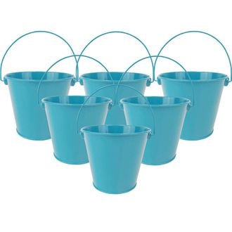 "4""H Metal Crayon/Pencil Holder Favor Bucket Pails (6pcs, Teal) - Premier"