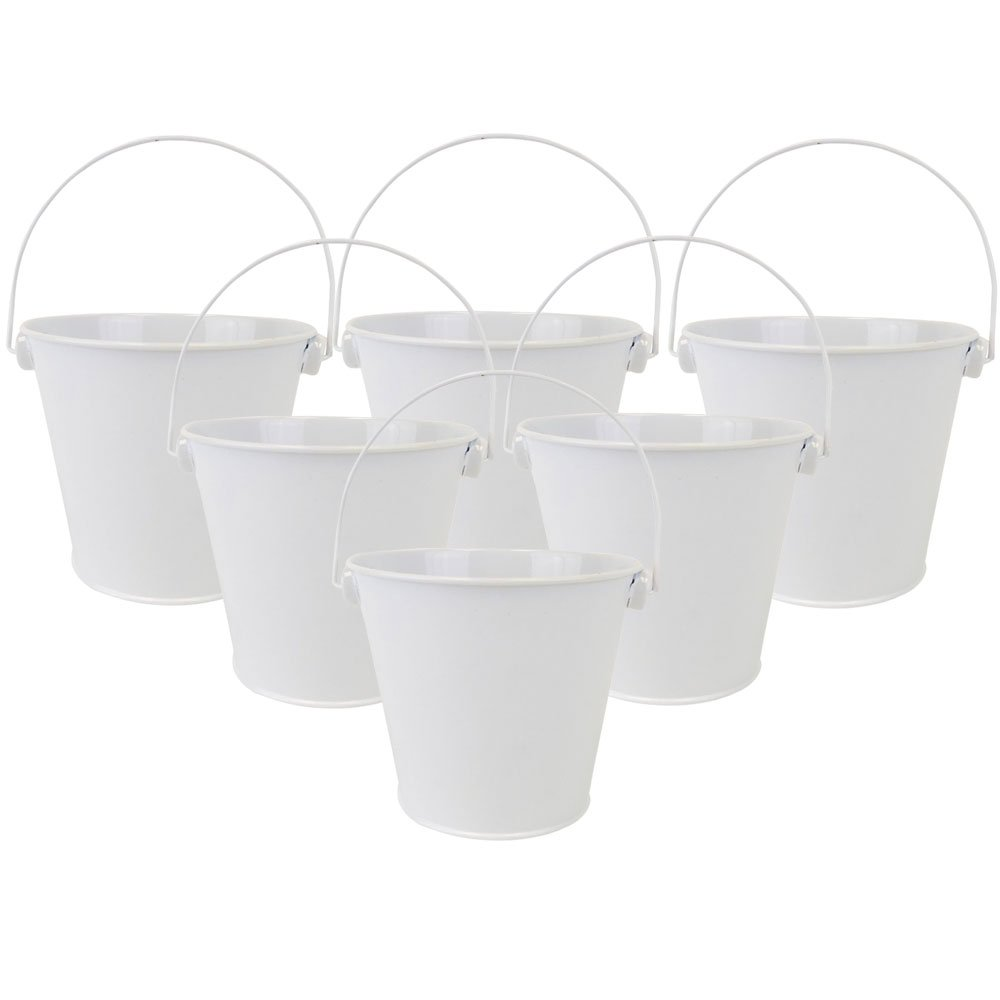 "4""H Metal Crayon/Pencil Holder Favor Bucket Pails (6pcs, White) - Premier"