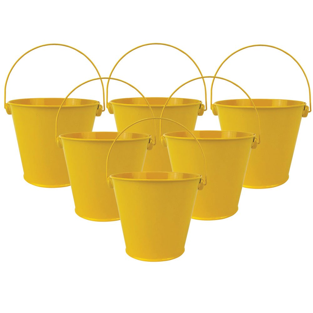 "4""H Metal Crayon/Pencil Holder Favor Bucket Pails (6pcs, Yellow) - Premier"