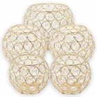 5pc Gold Assorted Round Crystal Votive Tea Light Candle Holder Set (Small, Medium, Large) - Premier
