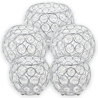 5pc Silver Assorted Round Crystal Votive Tea Light Candle Holder Set (Small, Medium, Large) - Premier