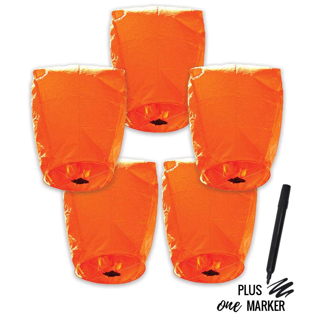 5pcs ECO Wire-Free Flying Chinese Sky Lanterns with Markers (Set of 5, Eclipse, Orange) - Premier