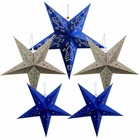5pcs Star Paper Lanterns (Color: Blue/Silver) - Premier