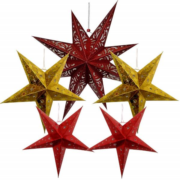 5pcs Star Paper Lanterns (Color: Dark Red/Gold/Red) - Premier