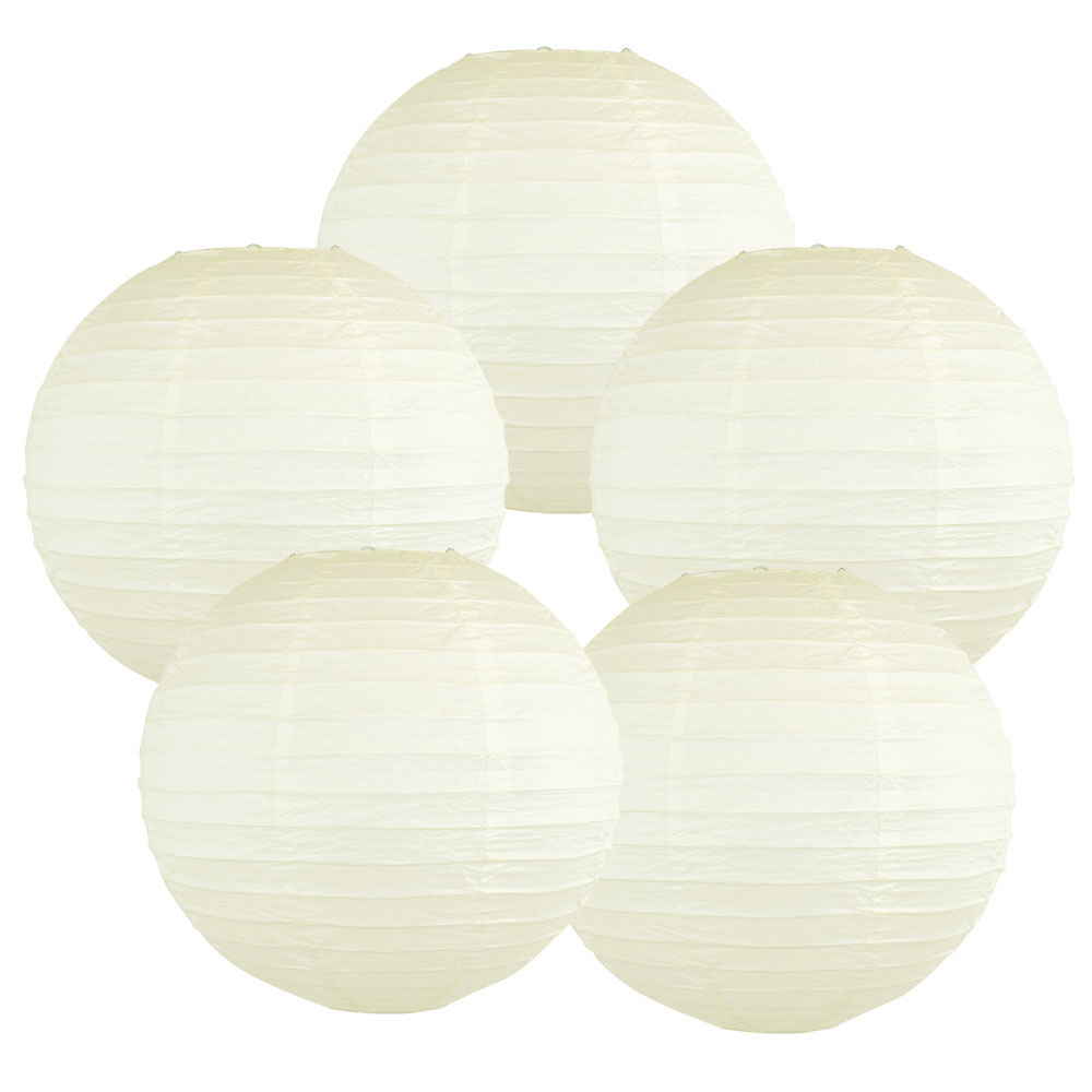 "6"" Ivory Chinese Paper Lanterns (Set of 5, 6-inch, Ivory) - Premier"