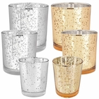 6pc Assorted (Size,Color) Mercury Glass Votive Tealight Candle Holder Set - Premier