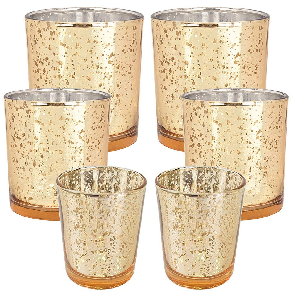 6pc Assorted (Size) Gold Mercury Glass Votive Tealight Candle Holder Set - Premier