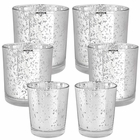 6pc Assorted (Size) Silver Mercury Glass Votive Tealight Candle Holder Set - Premier