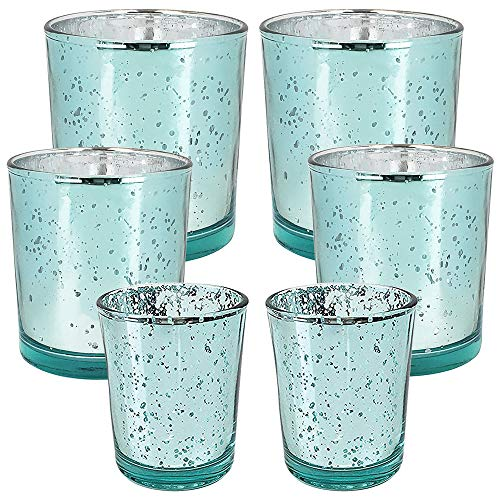 6pc Assorted (Size) Speckled Aqua Mercury Glass Votive Tealight Candle Holders - Premier
