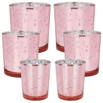 6pc Assorted (Size) Speckled Blush Mercury Glass Votive Tealight Candle Holders - Premier
