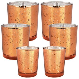 6pc Assorted (Size) Speckled Copper Mercury Glass Votive Tealight Candle Holders - Premier