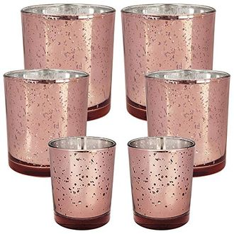 6pc Assorted (Size) Speckled Marsala Mercury Glass Votive Tealight Candle Holders - Premier
