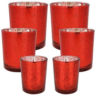 6pc Assorted (Size) Speckled Red Mercury Glass Votive Tealight Candle Holders - Premier