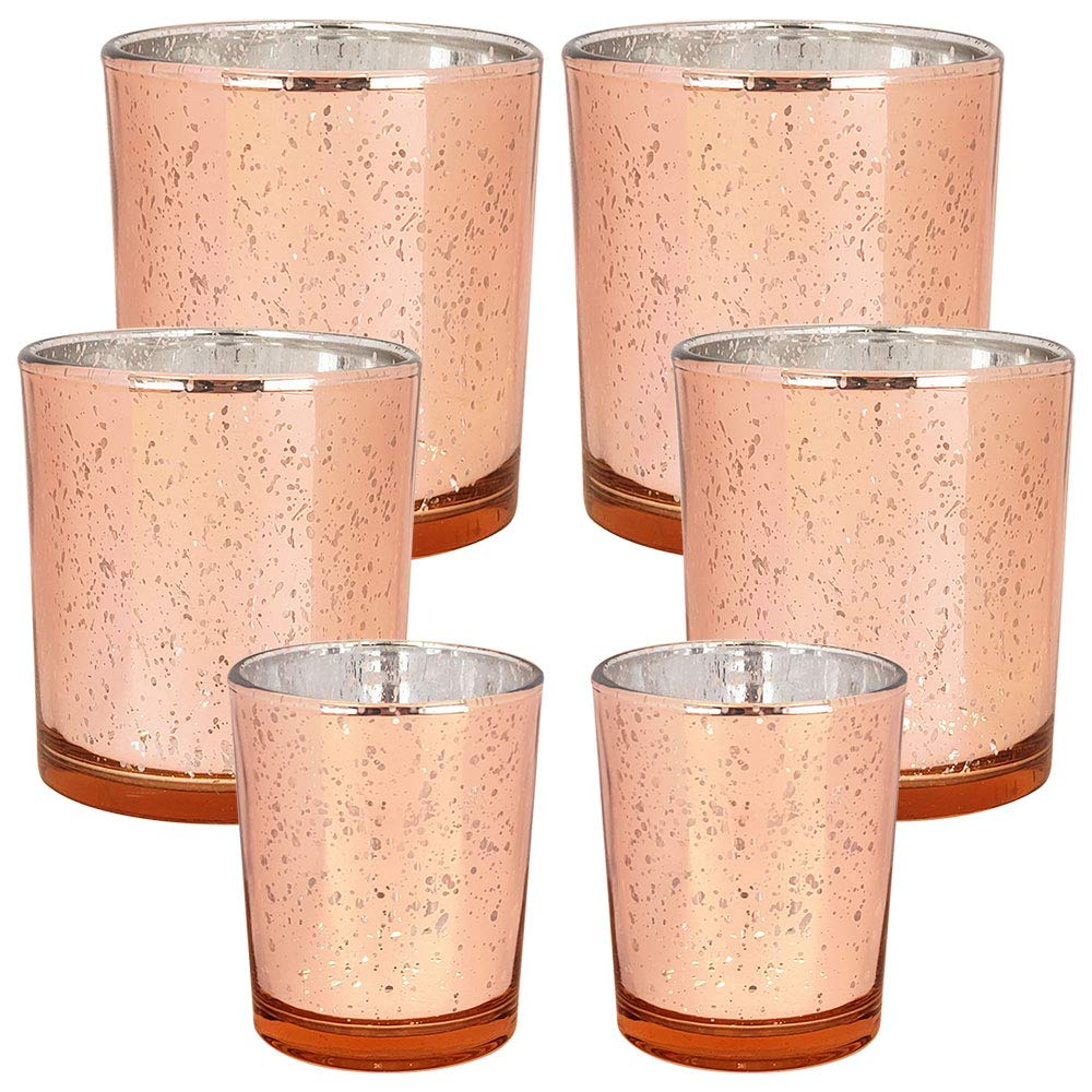 6pc Assorted (Size) Speckled Rose Gold Mercury Glass Votive Tealight Candle Holders - Premier