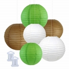 6pcs Assorted Size Decorative Round Hanging Paper Lanterns (Color: Brown, Green, White) - Premier