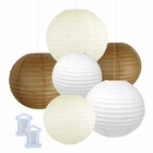 6pcs Assorted Size Decorative Round Hanging Paper Lanterns (Color: Brown, Ivory, White) - Premier